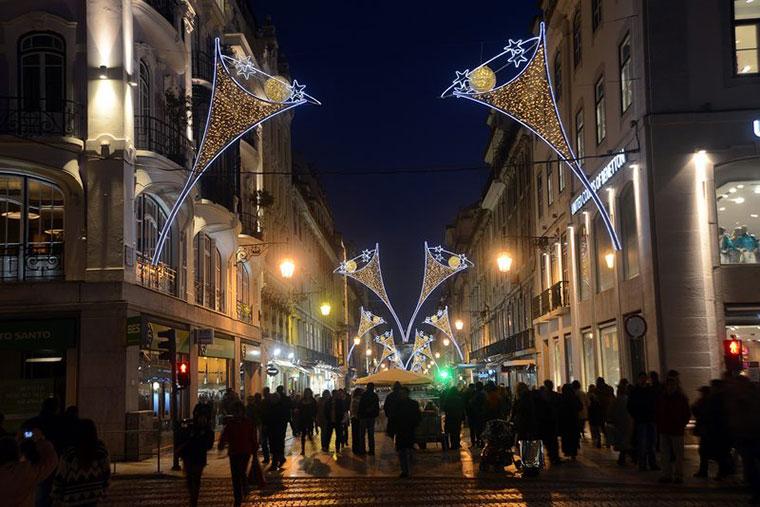 Dekoracje świąteczne ulic w Lizbonie, Portugalia