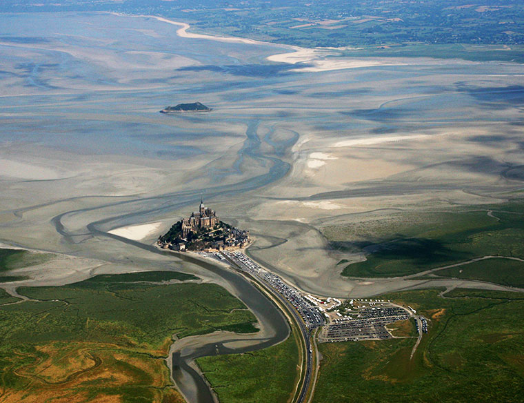 Mont Saint-Michel widok z samolotu, Francja
