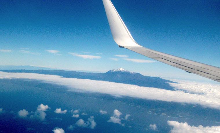 Widok z samolotu na wulkan Mt Teide - Wyspa Teneryfa