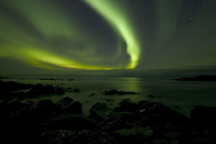 Zorza polarna w pobliżu Berlevåg, Norwegia