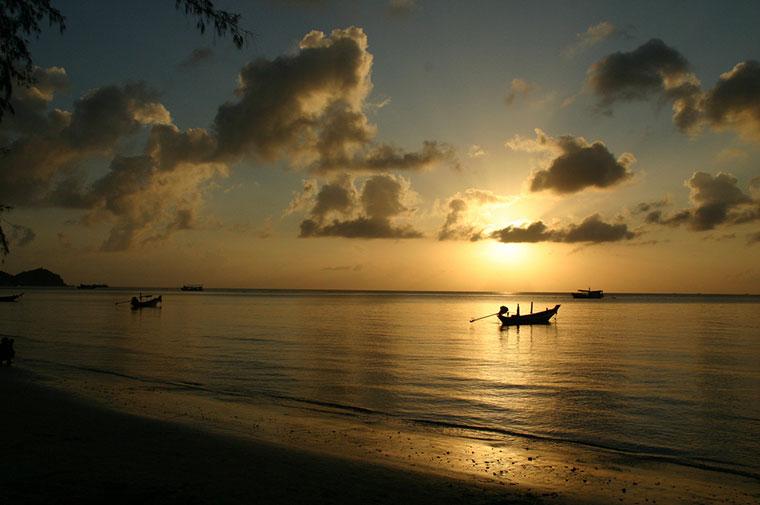 Zachód słońca,  Koh Tao w Tajlandii
