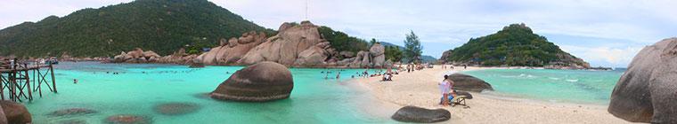Koh Nang Yuan, mała wyspa Koh Tao. Właściwie są to 3 wyspy połączone plażą. Tajlandia